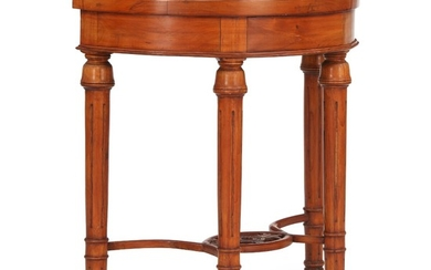A demi lune shaped Chinese hardwood console table. 20th century. H. 82 cm. W. 77 cm. D. 37 cm.