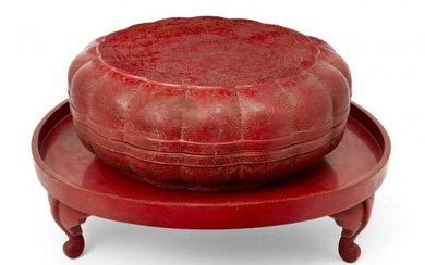 A large Chinese red lacquer lobed circular...