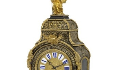 A large French gilt bronze, brass, tortoiseshell, Boulle marquetry table clock. Régence style, mid-19th century. H. 130 cm. W. 52 cm. D. 21 cm.
