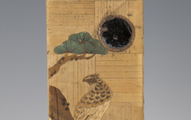 A late 19th century Japanese straw work box, the top decorated with a bird of prey on a pine branch