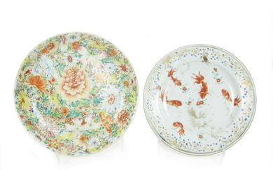 A millefiori saucer dish together with a famille rose plate