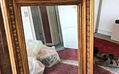 NOT SOLD. A mirror in frame of gilded carved wood, 19th century H. 80. W....
