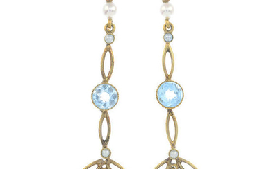 A pair of aquamarine and cultured pearl earrings.