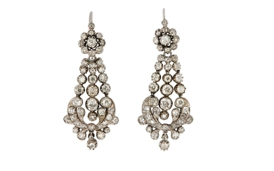 A pair of mid 19th century diamond pendent earrings