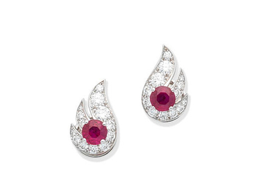 A pair of ruby and diamond flame earrings