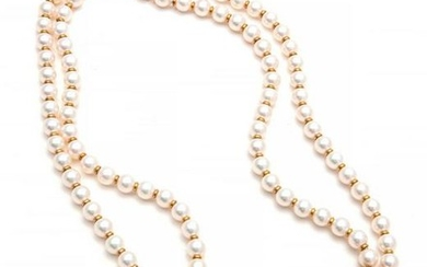 A pearl, amethyst, diamond and 18k gold necklace