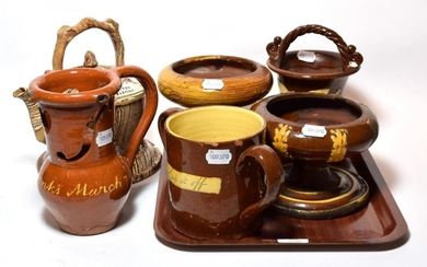 A selection of 19th century slip ware including: frog loving...