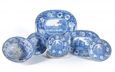 A selection of Staffordshire blue and white printed pottery including assorted views of St. Albans Abbey