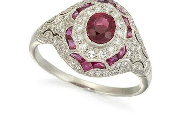 AN ART DECO FRENCH PLATINUM, RUBY AND DIAMOND RING, the