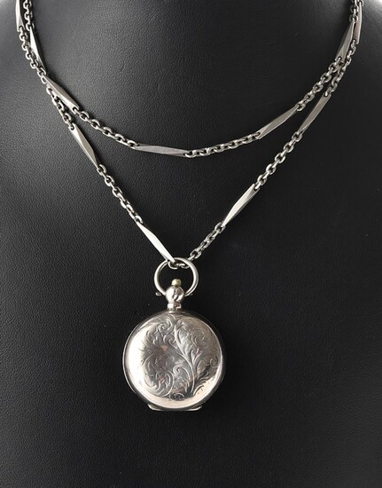 AN ENGLISH SOVEREIGN CASE IN STERLING SILVER, HALLMARKED LONDON, CIRCA 1927-28, ON A FANCY LINK STERLING SILVER CHAIN, TOTAL LENGTH...