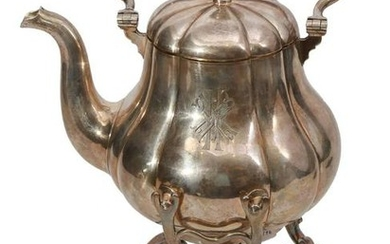 AN IMPERIAL RUSSIAN SILVER TEA KETTLE, 19TH C.