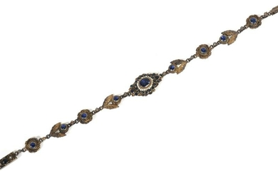 AUSTRO HUNGARIAN STONE & PEARL SILVER BRACELET