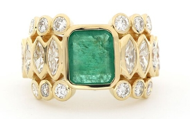 Aig Certificate - No Reserve Price - 18 kt. Yellow gold - Ring - 2.32 ct Diamond - Emerald