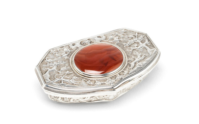 An 18th century silver and hardstone box