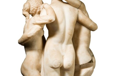 An Italian Baroque sculpture of the Three Graces, probably 17th century