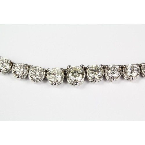 An impressive 14ct white gold graduated diamond necklace of ...
