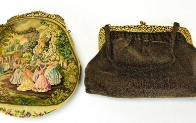 Antique Needlepoint Tapestry & Beaded Purses