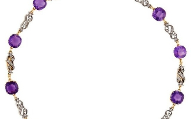 Antique Silver, Gold, Amethyst and Diamond Necklace/Bracelets Combination