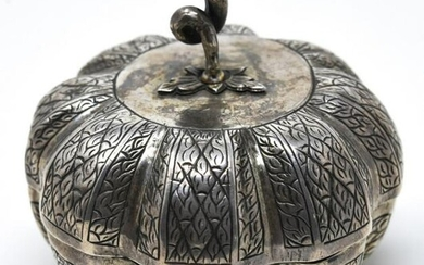 Antique Sterling Silver Melon Form Decorative Box