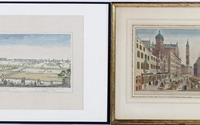Antique colored engraving of Augsburg at the time of &