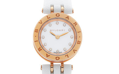 BVLGARI | B.ZERO1, A LADY'S PINK GOLD AND CERAMIC WRISTWATCH WITH DIAMOND HOUR INDEXES, CIRCA 2019