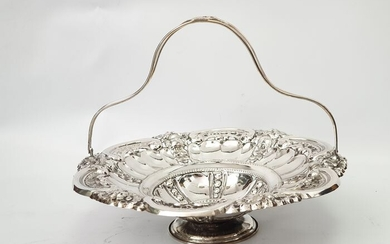 Basket, diameter: 28cm - .833 silver - Portugal - Mid 20th century