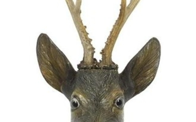 Black forest carved wood deer's head with glass eyes,