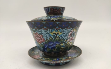 Bowl with lid and holder - Cloisonne enamel - Flowers - China - 19th century