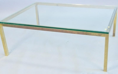 Brass and glass top coffee table, some surface