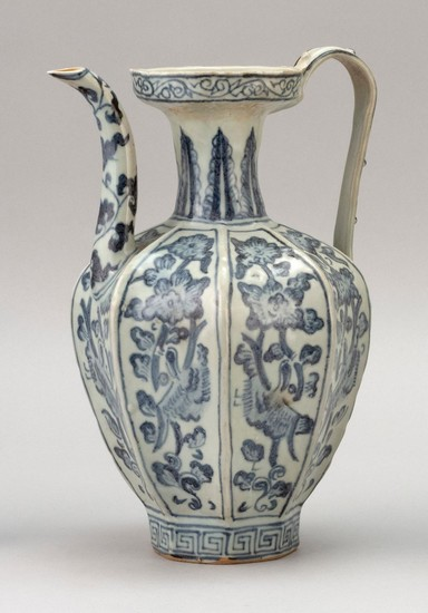 "CHINESE BLUE AND WHITE PORCELAIN EWER Octagonal, with strap handle and bird and flower decoration. Height 10""."