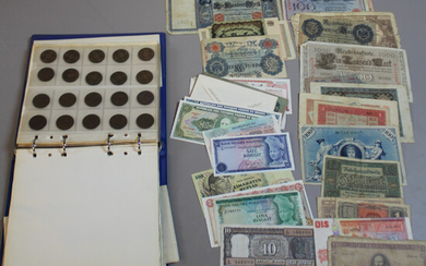 COINS, COLLECTION OF BANKNOTES, ONE PARTY, 1900s. Sweden, Germany, India, Argentina, Brazil, etc.