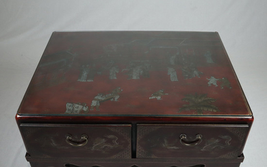 COFFEE TABLE / TEA TABLE - China, 20. Century, wood, painted red.
