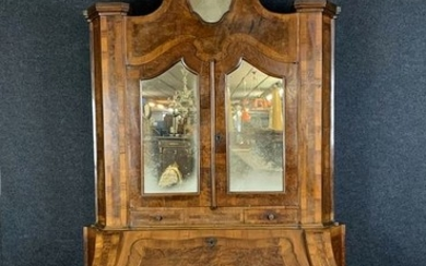 Cabinet Lombard curved in walnut marquetry - Louis XV Style - Wood - Late 19th century
