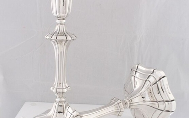 Candlestick, A Pair of Willem IV Candlesticks, 24 cm (2) - .925 silver, Silver - Henry Wilkinson & Co, Sheffield - England - 1831