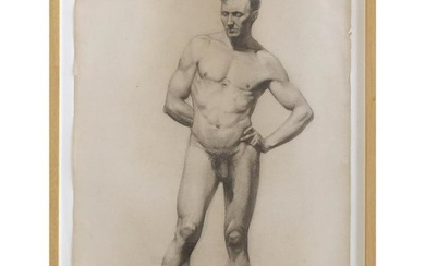 Carl T. Pfeufer Male Nude Study Pencil Drawing Signed