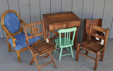 Cherry Country Child's Desk & Five Child's Chairs