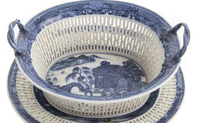 Chinese Export Reticulated Basket & Underplate
