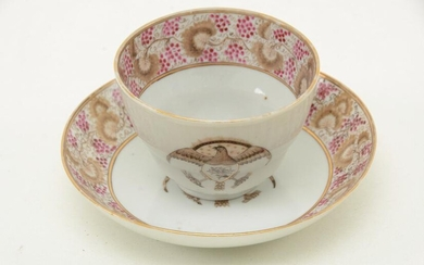 Chinese Export porcelain cup and saucer with American