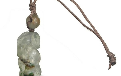 Chinese Jadeite Carved Frog Toggle, 19th Century