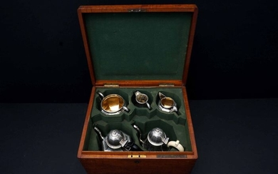 Coffee and tea service, in an Original Wooden Box (5) - .925 silver - William Stocker - England - 1864