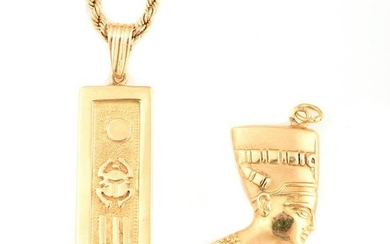 Collection of Three Yellow Gold Jewelry Items.