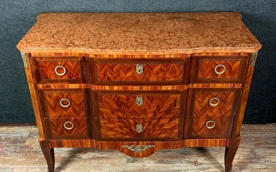 Commode - Transition Style - Kingwood, Marble, Tulipwood, parquetry - 19th century