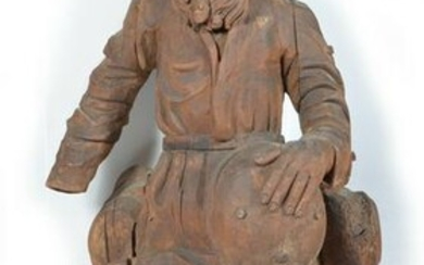"""Continental carved wooden figure of a bearded man , 41"""""""