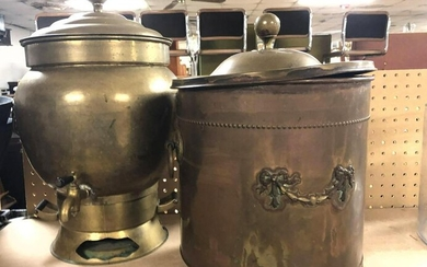 Copper and Brass lot. Copper lidded bucket, and Brass
