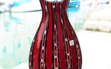 Costantini - Red and white vase with murrine (36 cm) - Glass