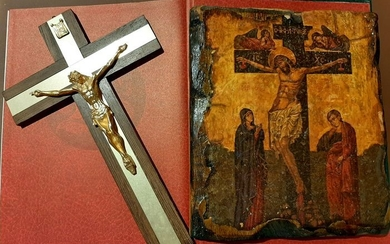 Cross, icon (2) - Bronze (gilt/silvered/patinated/cold painted), wood