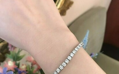 Diamond Tennis Bracelet TW 8.81 ct Rounds VS-F,G in 18k