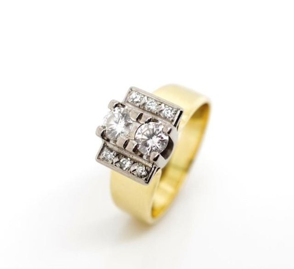 Diamond and 18ct yellow gold ring set with a two stone round...