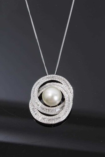 Diamond and cultured pearl pendant in 18ct white gold setting on 18ct white gold chain, estimated total diamond weight approximately 3.5cts
