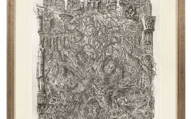 Dmitri Plavinsky (1937-2012), Cathedral with a Bat; Bosporus Tortoise; Old Woman; Salamanders; Spider's web and One etching